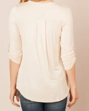 Load image into Gallery viewer, Cream Tunic Top w/Rolled Sleeves