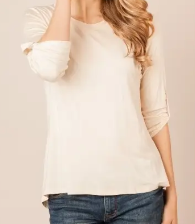 Cream Tunic Top w/Rolled Sleeves