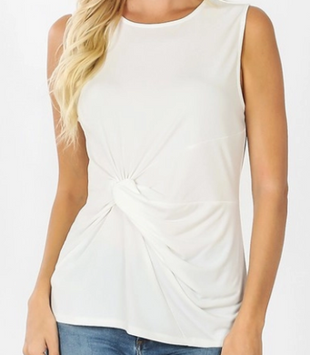 Ivory Front Knot Top