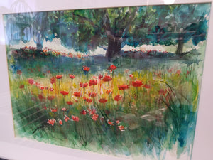 """French Poppies"", 11x15 Watercolor Painting"
