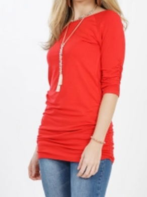 Side Shirred Red Tunic