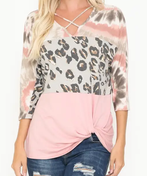 Criss Cross Leopard Pink Fashion Top