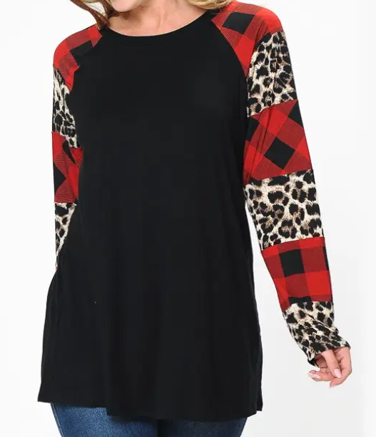 Black Top with Leopard Plaid Sleeves