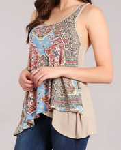 Load image into Gallery viewer, Blue Print Sleeveless Top