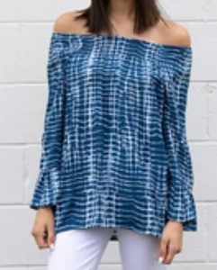 Tie-Dye Peasant Blouse - On or Off Shoulder