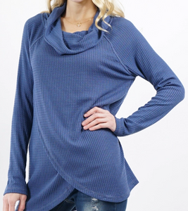 Waffle-Knit Cowl-Neck Tulip Front Tunic - Denim Blue