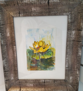 """Yellow Lilly Pad"", 8x10 Watercolor Painting"
