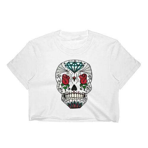 Queen of Rose Skull Women's Crop Top