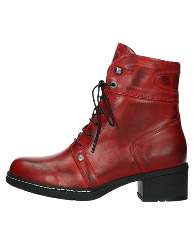 WOLKY 01260 RUGGED LACE BOOT - DARK RED