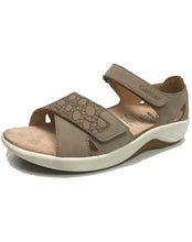 Load image into Gallery viewer, GANTER 204062 GENDA VELCRO OPEN TOE TAUPE CIRCLING NUBUK