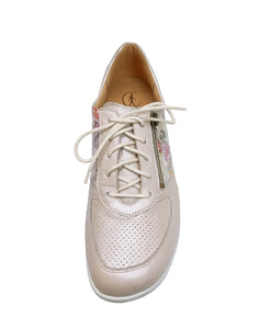 204749 INGE ZIP LACE SHOE 5-7.5H GANTER S20 - PORZELLAN SPORTY MET