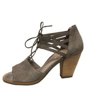 Load image into Gallery viewer, PAUL GREEN 3564PG LACE UP HEEL TRUFFLE SUEDE