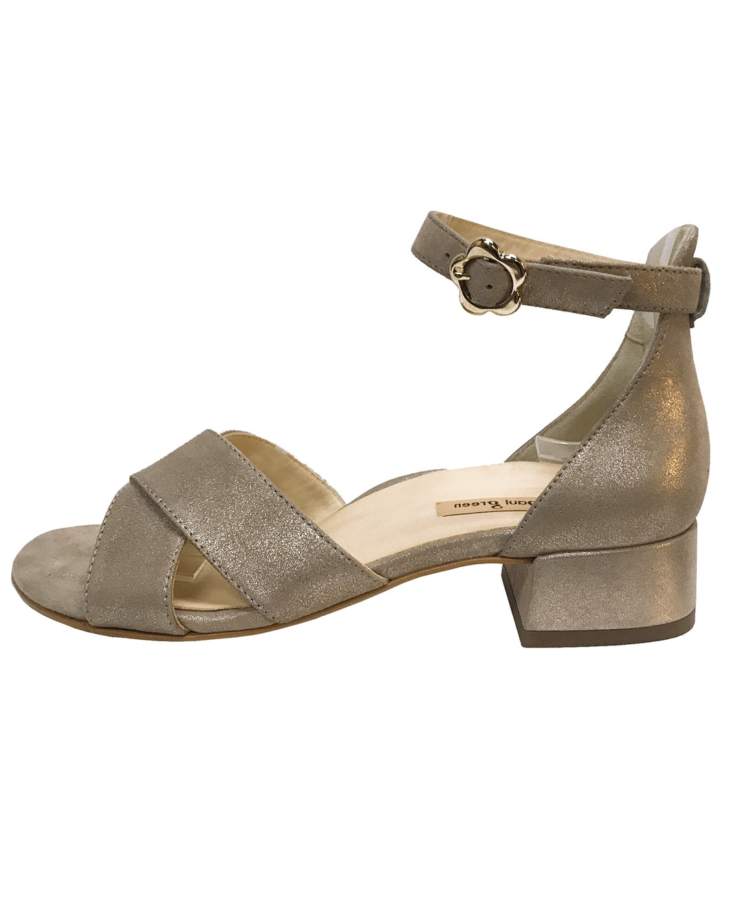 PAUL GREEN 7139 ANKLE STRAP HEEL METALIC CHAMPAGNE