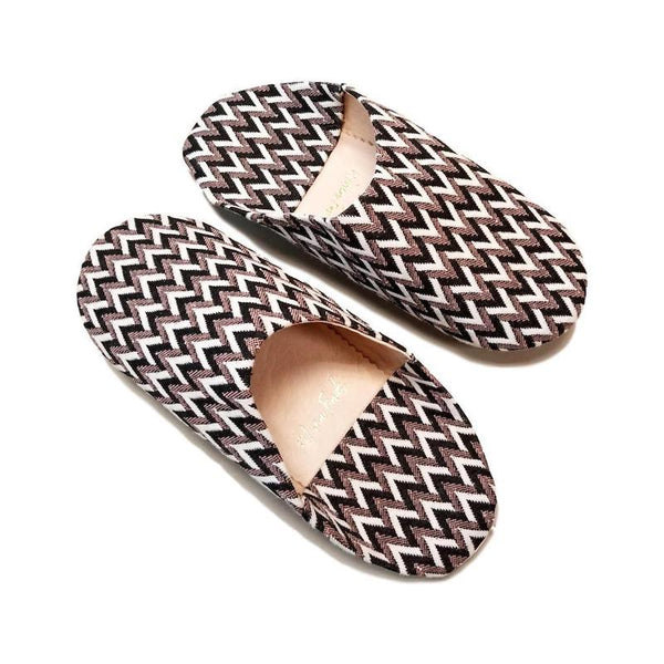 Artisan Hand-Crafted Moroccan House Slippers - Art Deco Pattern