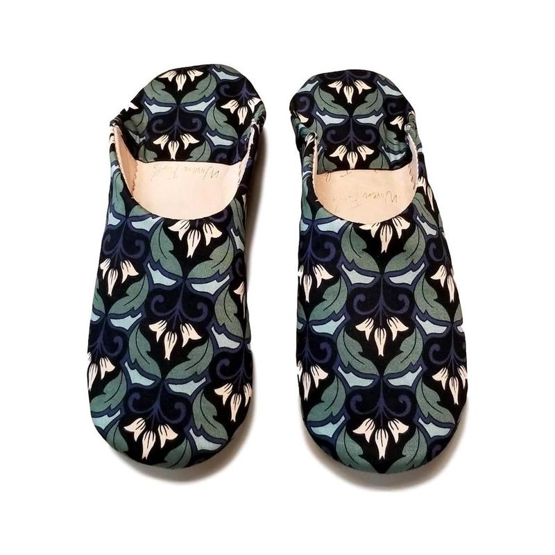 Artisan Hand-Crafted Moroccan House Slippers - Babouche Slippers, Tulip Fabric