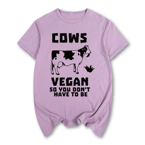 Vegan cows you don't have to be Summer print T-shirt