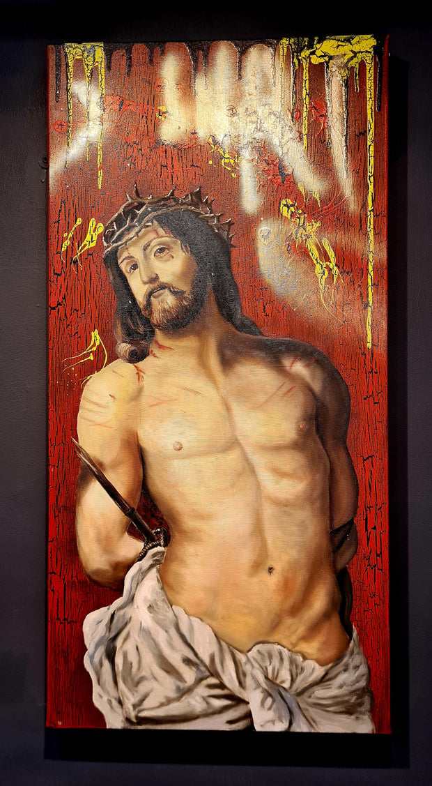 Jesus : (Ecce Homo) Modern Take on the Rubens Old Masters - Painted with Oils on Canvas by Peter Stuhl - Iron Oxide Design