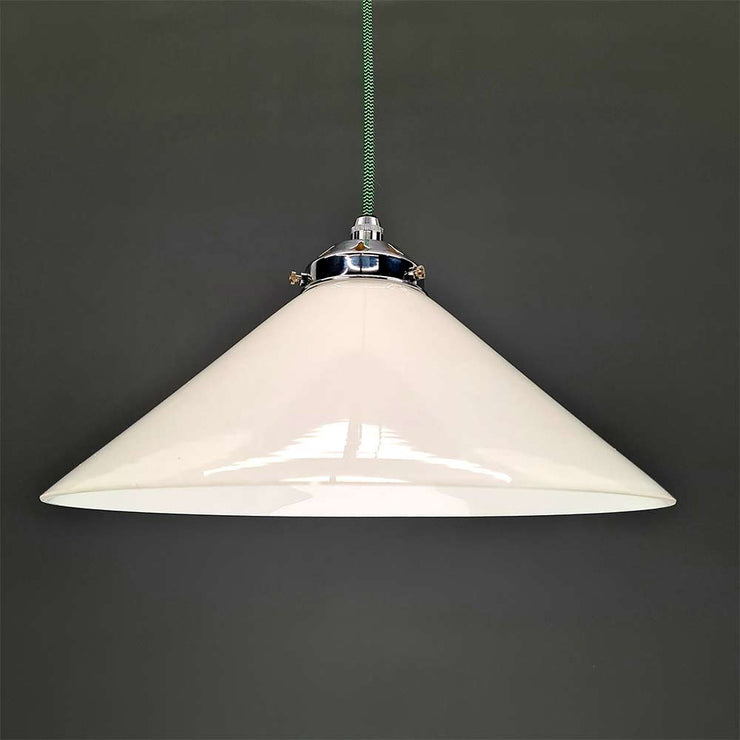 White Glass Coolie Shade Pendant Light Flex options and combinations available