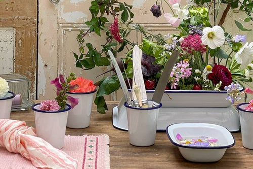 How to use enamelware as a planter.