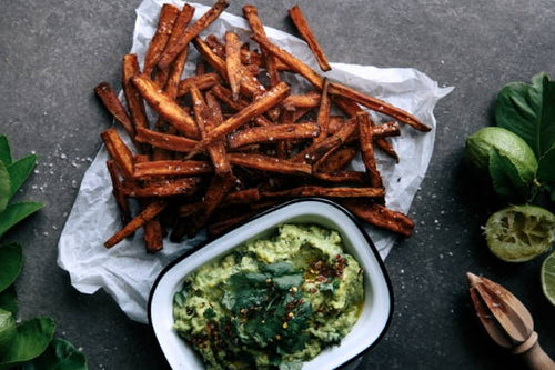 Spicy Sweet Potato Fries with Coconut & Lime Avocado.