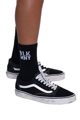 BLK MNY CREW SOCKS - BLACK (2PK)