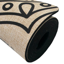 Load image into Gallery viewer, Best Yoga Mat Elephant Design Organic Natural Jute Hemp Oatmeal Beige