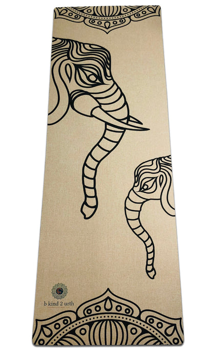 Best Yoga Mat Elephant Design Organic Natural Jute Hemp Oatmeal Beige
