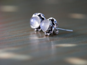 Moonstone and Silver Button Earrings