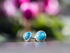 Turquoise and Sterling Silver Button Earrings