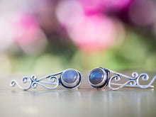 Load image into Gallery viewer, Silver and Labradorite Tribal Ear Climbers