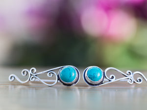 Silver and Moonstone Tribal Ear Climbers