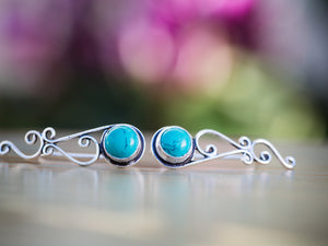 Silver and Turquoise Tribal Ear Climbers