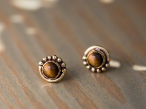 Moonstone and Gold Brass Button Earrings