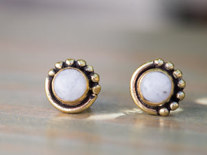 Tiger Eye and Gold Brass Button Earrings