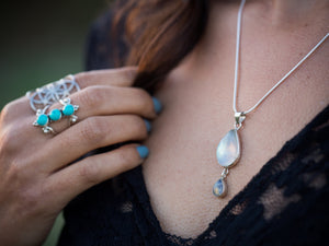 Moonstone Double Teardrop Necklace