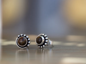 Garnet and Silver Button Earrings