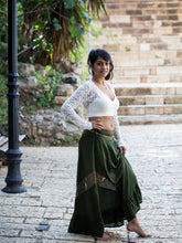 Load image into Gallery viewer, Green Maxi Skirt with Lace Chevron Stripe