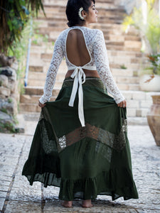 Green Maxi Skirt with Lace Chevron Stripe
