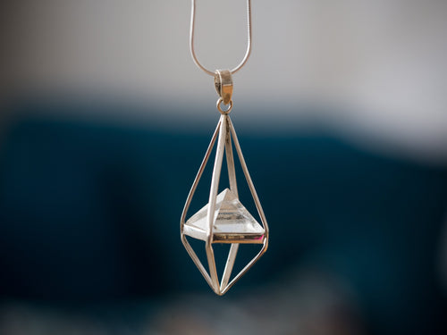 Clear Crystal Octahedron Necklace