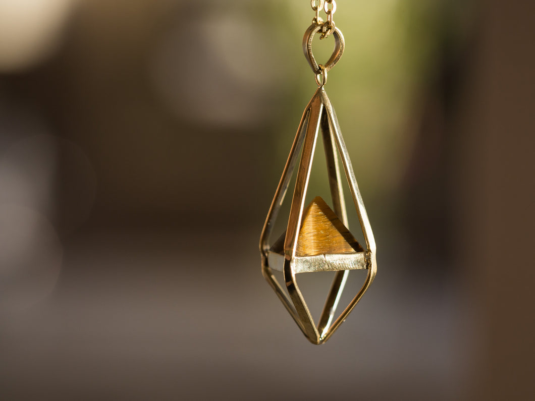 Tiger Eye Octahedron Necklace