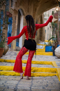 Red Lace Pants with Bell Bottoms
