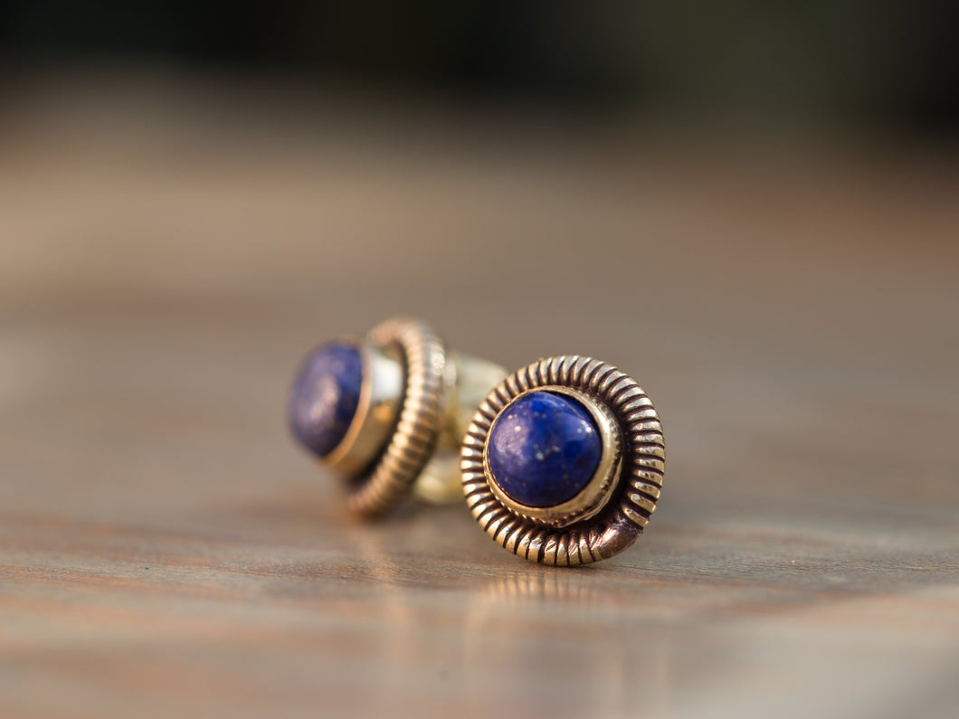 Lapis Lazuli and Gold Brass Coil Button Earrings
