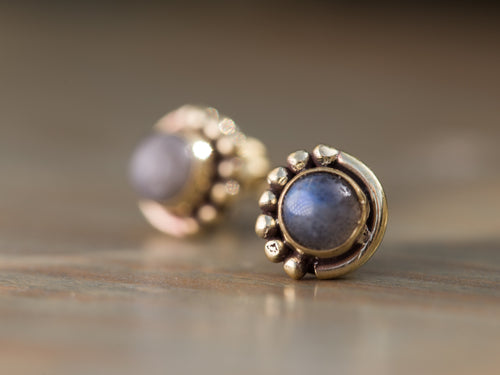 Labradorite and Gold Brass Button Earrings
