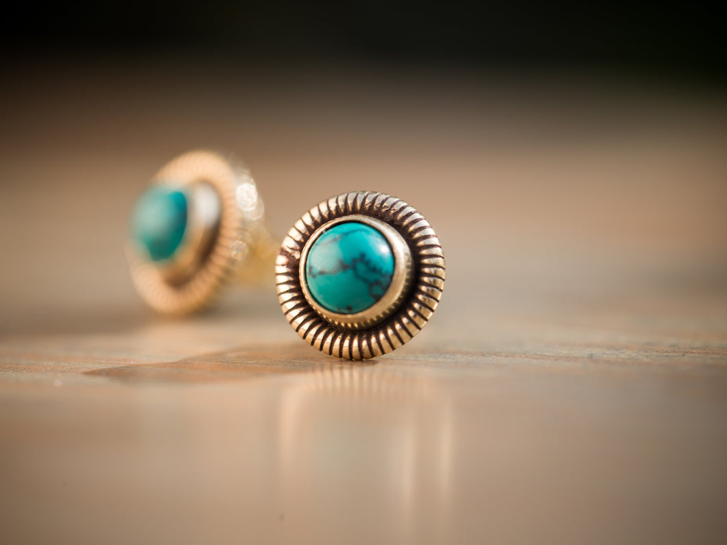 Turquoise and Gold Brass Coil Button Earrings
