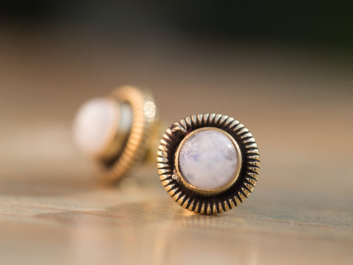 Moonstone and Gold Brass Coil Button Earrings