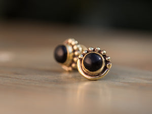 Onyx and Gold Brass Button Earrings