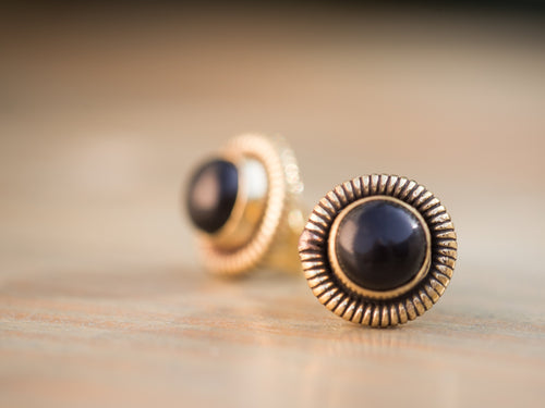 Onyx and Gold Brass Coil Button Earrings