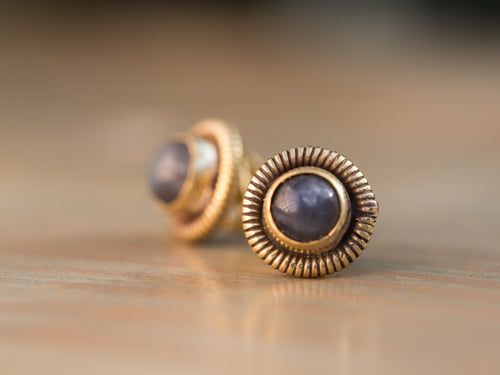 Labradorite and Gold Brass Coil Button Earrings