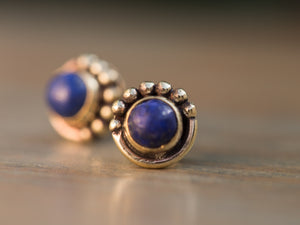 Lapis Lazuli and Gold Brass Button Earrings