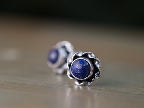 Lapis Lazuli and Silver Button Earrings